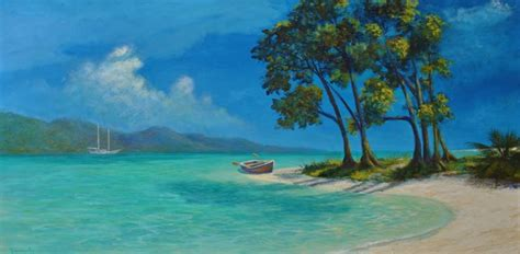 Original tropical caribbean painting gone ashore beach style paintings by alan zawacki