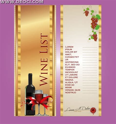 design menu cdr wine menu list eps downloads deoci com vector