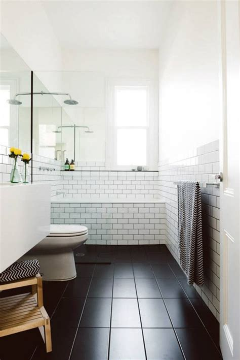 bathrooms with white subway tile black white subway tile bathroom inspiration