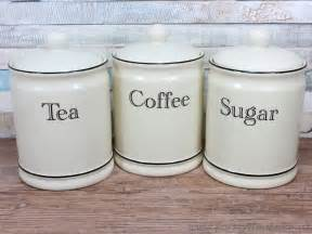 Kitchen Tea Coffee Sugar Canisters tea coffee sugar canister kitchen storage set 1 of 3 cream ceramic tea