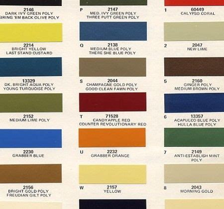 10 best images about colour cards on plymouth paint colors and dodge auto