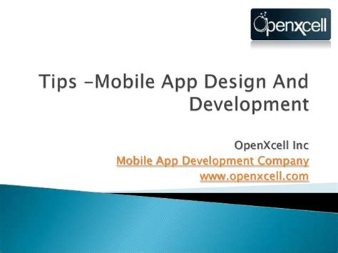 app design and development tips about mobile application design and development