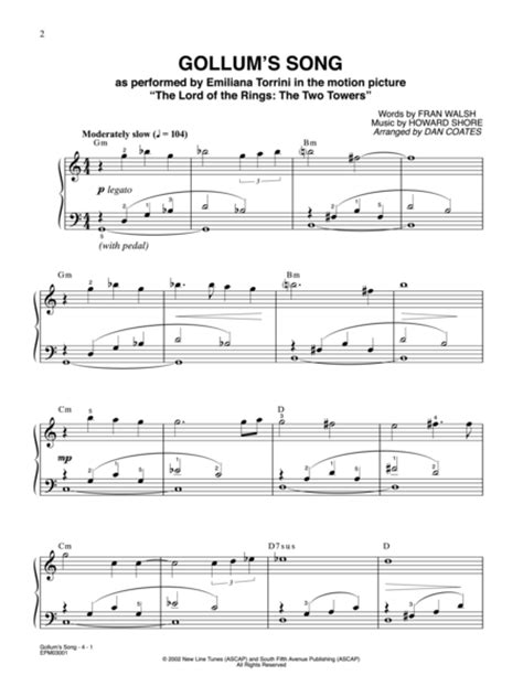 Sheet music: Gollum's Song - Easy Piano - From Lord Of The