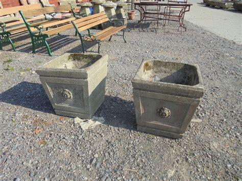 Big Concrete Planters by Pair Of Large Concrete Planters Authentic Reclamation