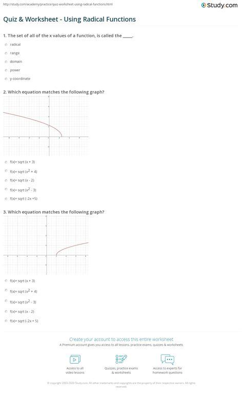 quiz worksheet  radical functions studycom