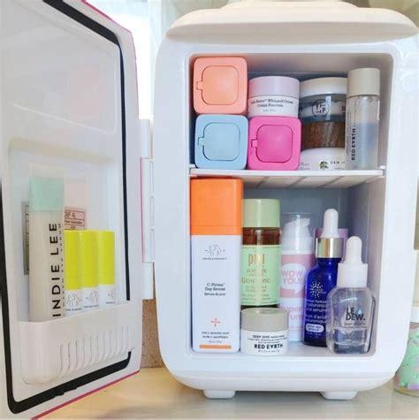 perfect mini skincare fridge stocked full  goodies