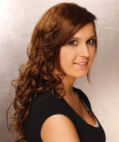 swoop bangs with curly hair long curly casual hairstyle with side swept bangs medium