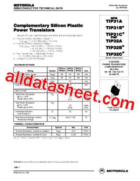 transistor tip32c datasheet tip32c datasheet pdf motorola inc