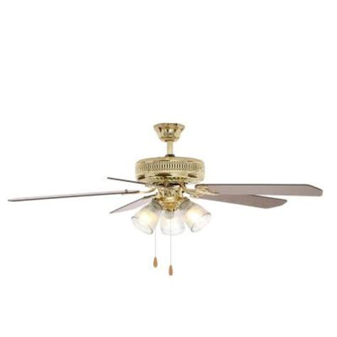 ceiling fan with blades that open up hton bay landmark plus 52 in indoor polished brass