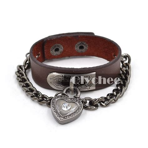 biker leather jewelry google search 1x biker heart lock chain leather cuff bracelet brown