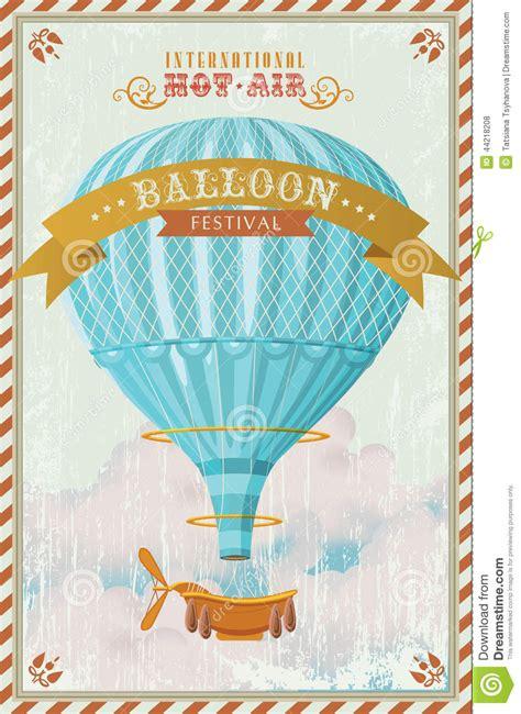 Balloon Card Template by Vintage Air Balloon In The Sky Vector Stock Vector