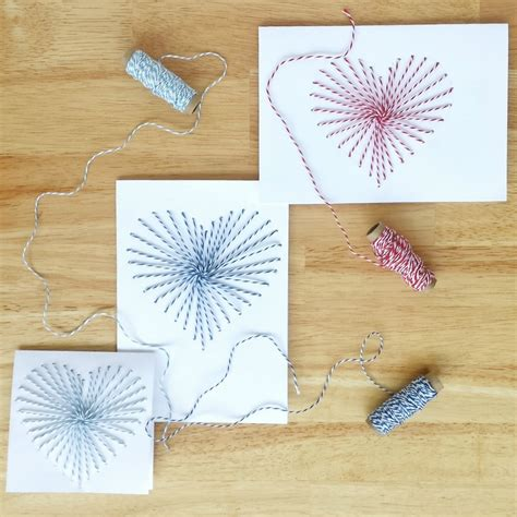 sewn greeting cards with baker s twine