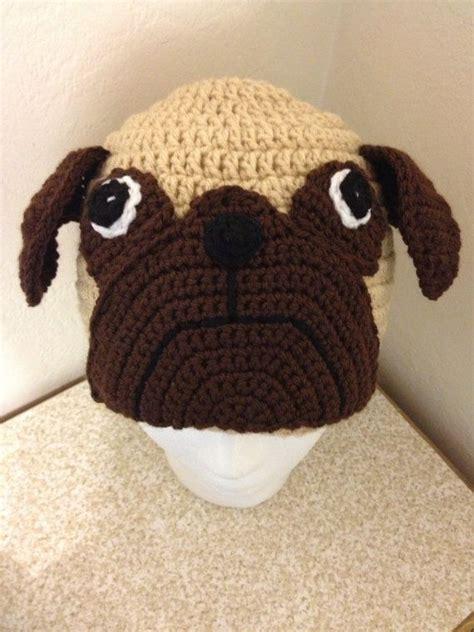 pug hat custom made pug crocheted hat you size pug hat hat