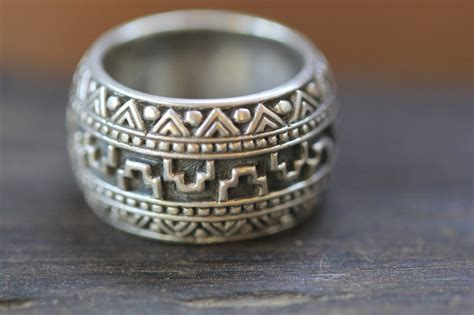 mens sterling silver ring band aztec style made