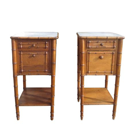 Bamboo Nightstand Pair Of 19th 20th Century Faux Bamboo Nightstands