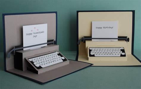 typewriter pop up card template typewriter pop up card creative and card crafts