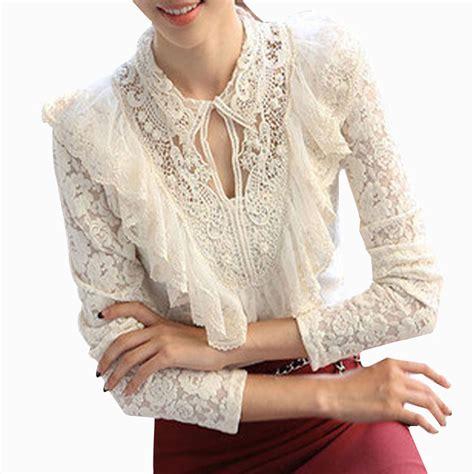 Basic Jumbo Blouse new 2017 casual basic summer lace blouse chiffon shirt large size hook flower