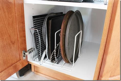 Simple Tip Use Two Cookie Sheets by Smart Kitchen Organization And Storage Tips Setting For Four
