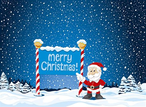 merry christmas sign santa claus winter landscape digital art  frank ramspott