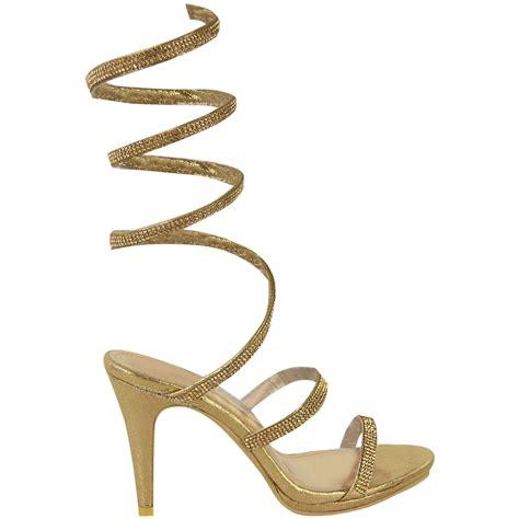 shoes sandals high heels womens high heel diamante spiral sandals gladiator