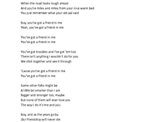 testo with me song worksheet you ve got a friend in me by randy newman