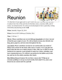 Family Reunion Announcement Letter
