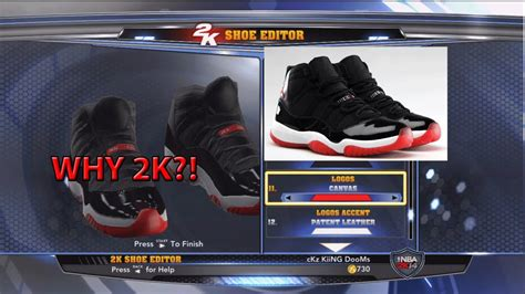shoe creator nba 2k14 shoe creator you can t make the bred 11s