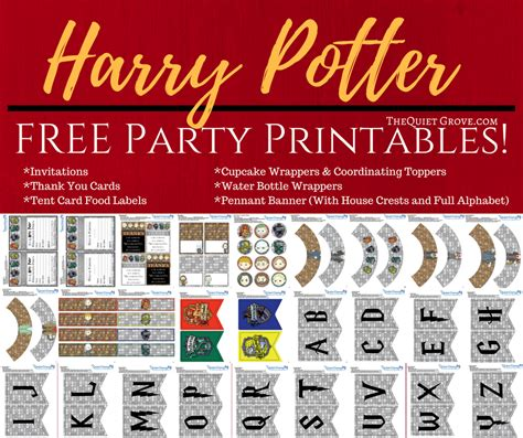 Harry Potter Home Decor Free Harry Potter Party Printables The Quiet Grove