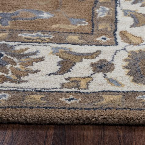 brown accent rug valintino floral vine border wool area rug in brown blue