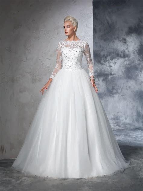 Robe De Mariée Marquise Manche Longue - robe de bal col bateau dentelle manches longueues longue