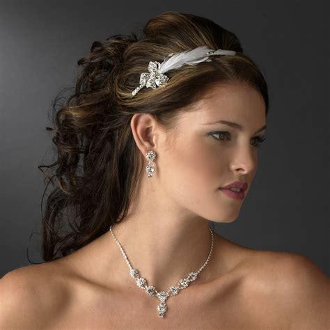 Wedding Hair Accessories Bow by Feather Bow Rhinestone Headpiece
