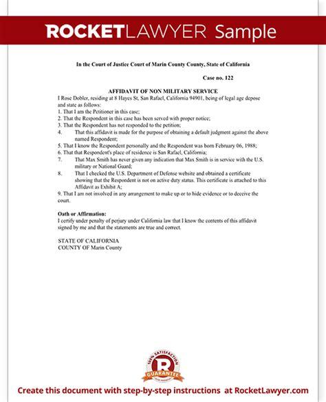 Non Military Affidavit Form Affidavit Of Non Military Service Sle Affidavit Of Non Service Template