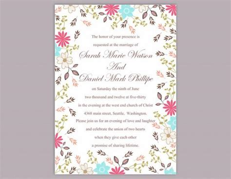 colorful wedding invitation templates diy wedding invitation template editable word file instant