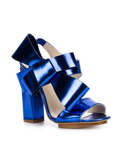 blue block heel sandals lyst delpozo bow block heel sandals in blue