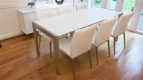 White Extending Dining Tables Matt White Extending Dining Table Brushed Metal Legs Seats 8 Satin Finish