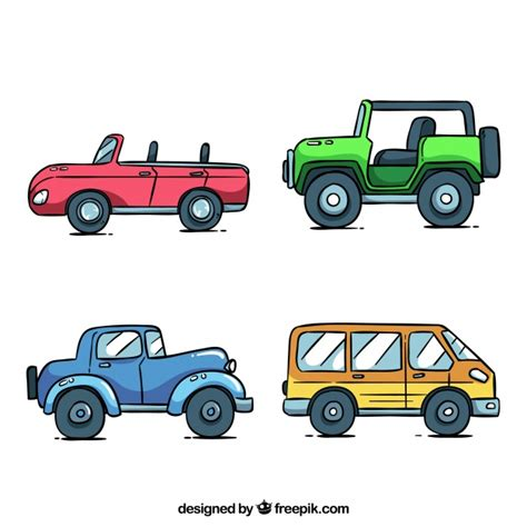 Cartoon Auto by Cartoon Car Collection With Side View Vector Free Download