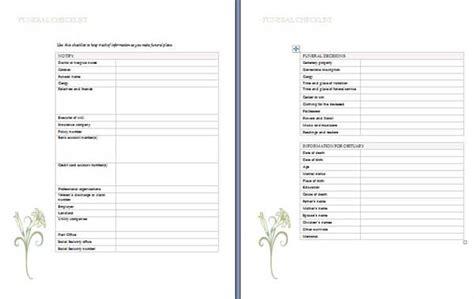 funeral planning checklist microsoft word templates