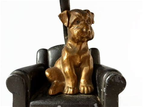 Antique Nuart Creations Figural Metal Dog Lamp Base c1930