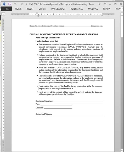 byod policy template receipt understanding acknowledgement template emh510 1