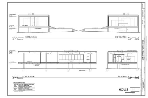 house plan elevation section farnsworth house section google search farnsworth