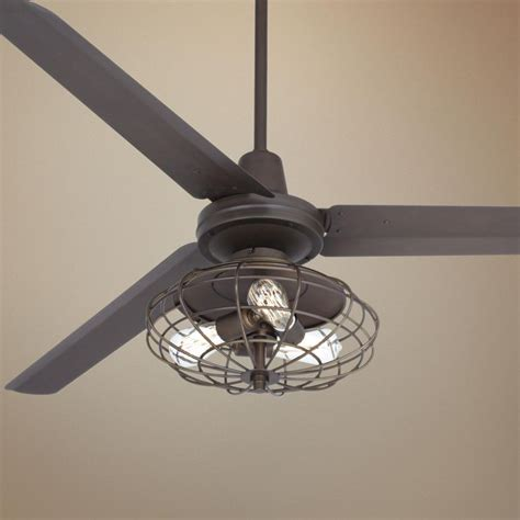 Ceiling Fan With Edison Lights 60 Quot Turbina Industrial Rubbed Bronze Ceiling Fan
