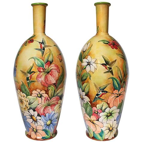 Majolica Vases by Santa Rosa Majolica Hummingbirdsxl Majolica Vase Msr0060