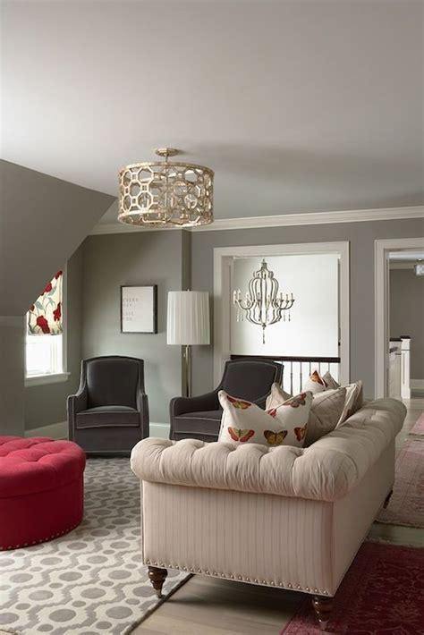 bm owl gray chic living room design  pigeon gray walls
