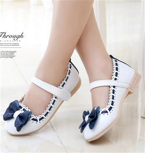 Korean Princess Leather White Dress Shoes Models Bowknot Princess Shoes