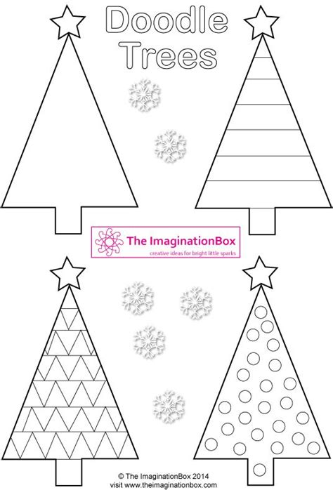 Triangle Christmas Doodle Trees Free Printable To Make Tags Cards Garlands Dossier Noel Triangle Tree Template
