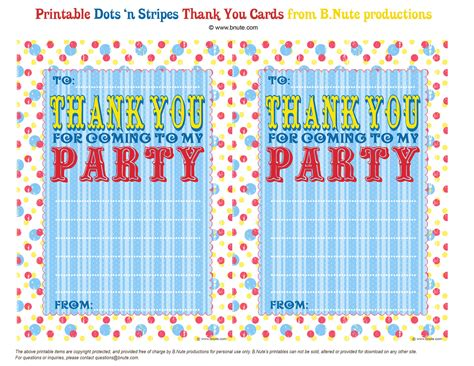 thank you for coming to my template bnute productions free printable dots n stripes thank