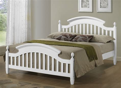 White Wooden Bed Frame King White Wooden Arched Headboard Bed Frame In 3ft Single 4ft6 5ft King Ebay