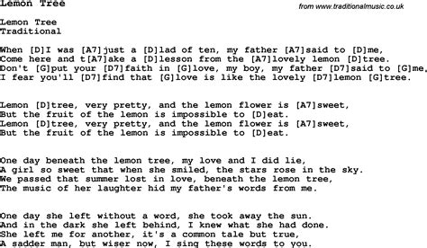 traditional song lemon tree with chords tabs and lyrics - My Tree Lyrics