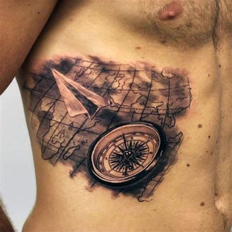 tattoo 3d mapping 3d very realistic looking world map with compass and paper
