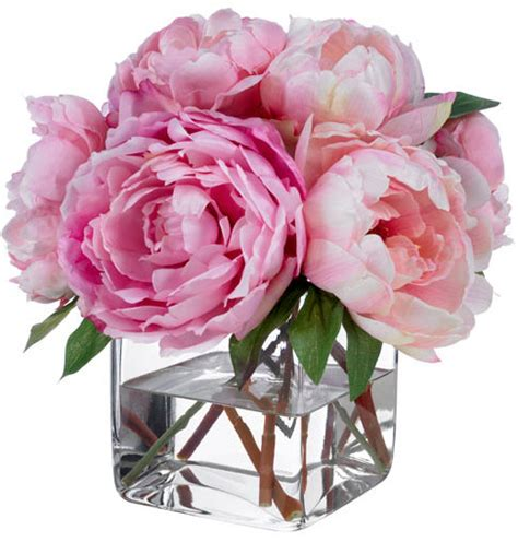 peony arrangement fine silk floral arrangement faux mixed pink peonies by